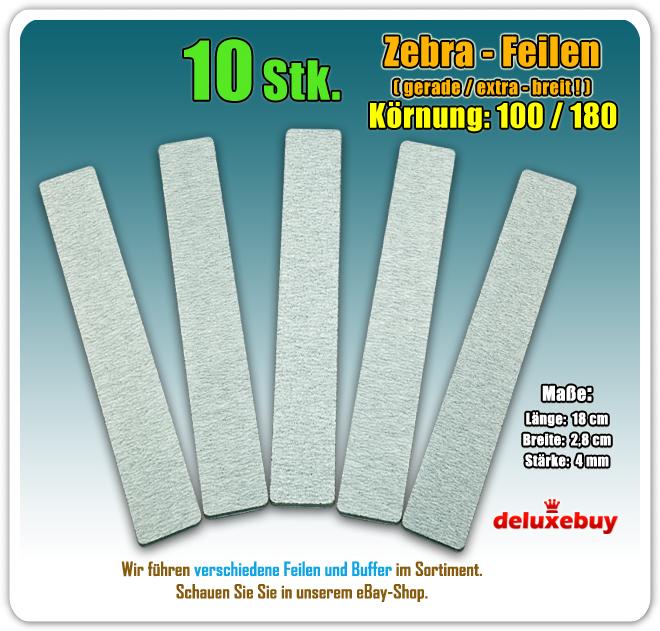 10 Stk. Zebra Feilen Gerade BREIT | Nagelfeile 100/180 | Zebrafeilen | EBay
