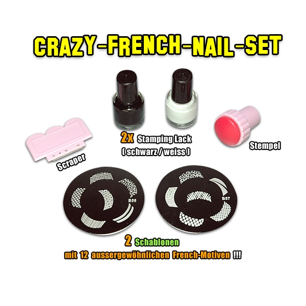 Crazy French Nail Stamping Set / 2 Schablonen m44 m45